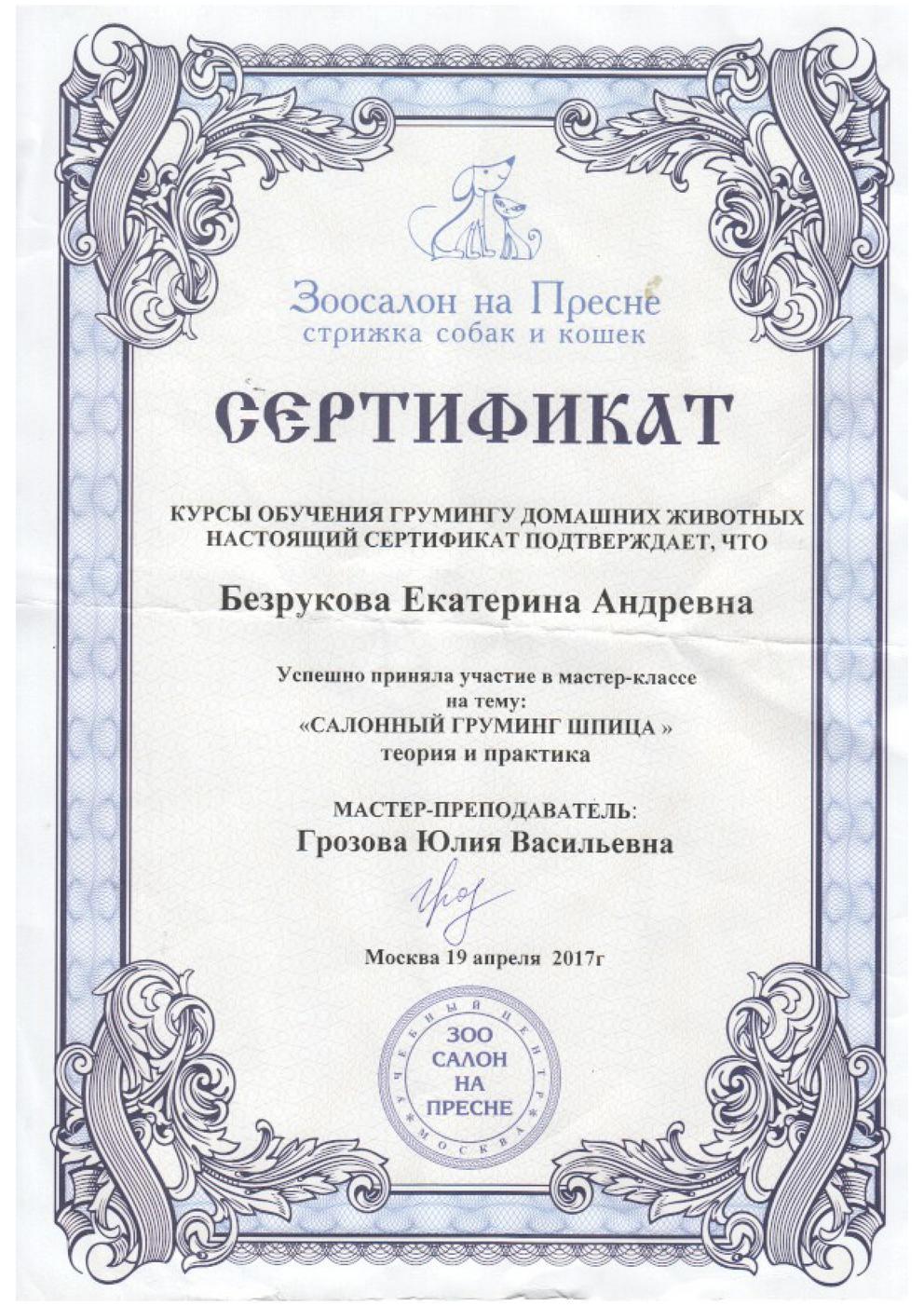 "Сертификат ""Салонный грумминг шпица"""
